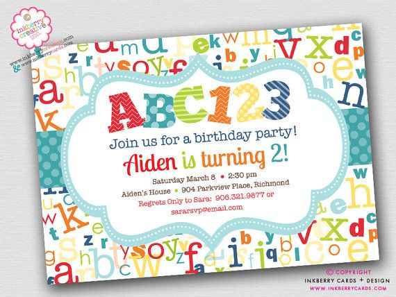 ABC123 - Alphabet Theme Birthday Party Invitation (Aqua Red Green) (Digital File - Printed Cards Also Available)