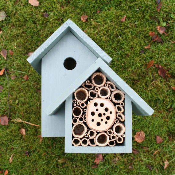 """The Birds & The Bees"" Handcrafted bird house and bee bee box combination. By Wuderx, $48"