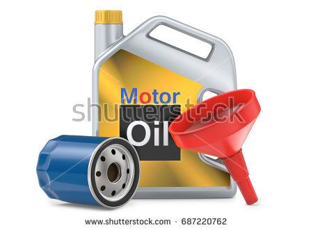 Car oil filters and motor oil plastic can, 3d llustration, 3D render, isolated on white background