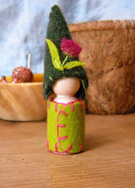 Waldorf Gnome Waldorf Peg Doll Tulip Doll flower by MamaWestWind, $20.00