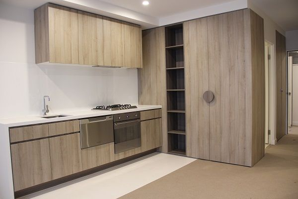 Aqueous Apartments Looking natural by using 16mm & 18mm Molina sand decorative board for cabinetry and shelving.