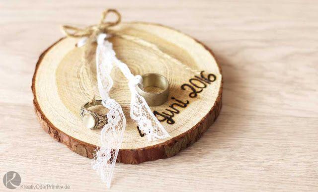 Ringschale, Ringkissen oder Ringbrettchen Hochzeit Wedding Deko DIY Basteln Rusikal Vintage Wood Holz