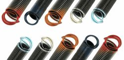 When changing garage door extension springs knowing the door weight is crucial.  If you are not sure what color spring to order, use a bathroom scale to weigh the garage door while it is unsprung and disconnected from your door opener. Order springs as follows: Door Weight= 100 lbs. You will need two 100 lb. springs. 1 on each side.