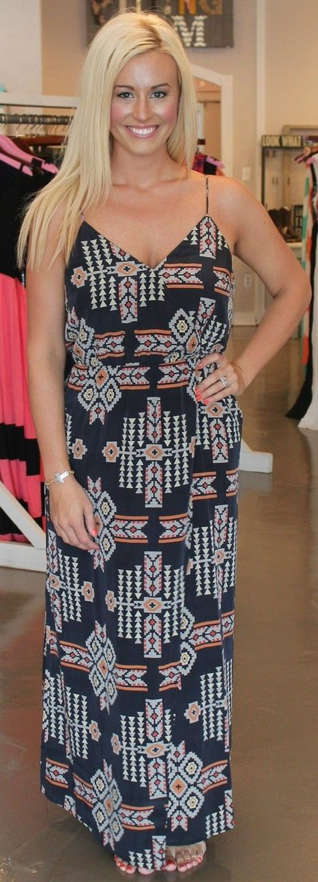Dottie Couture Boutique - Navy Tribal Maxi Dress, $59.00 (http://www.dottiecouture.com/navy-tribal-maxi-dress/)