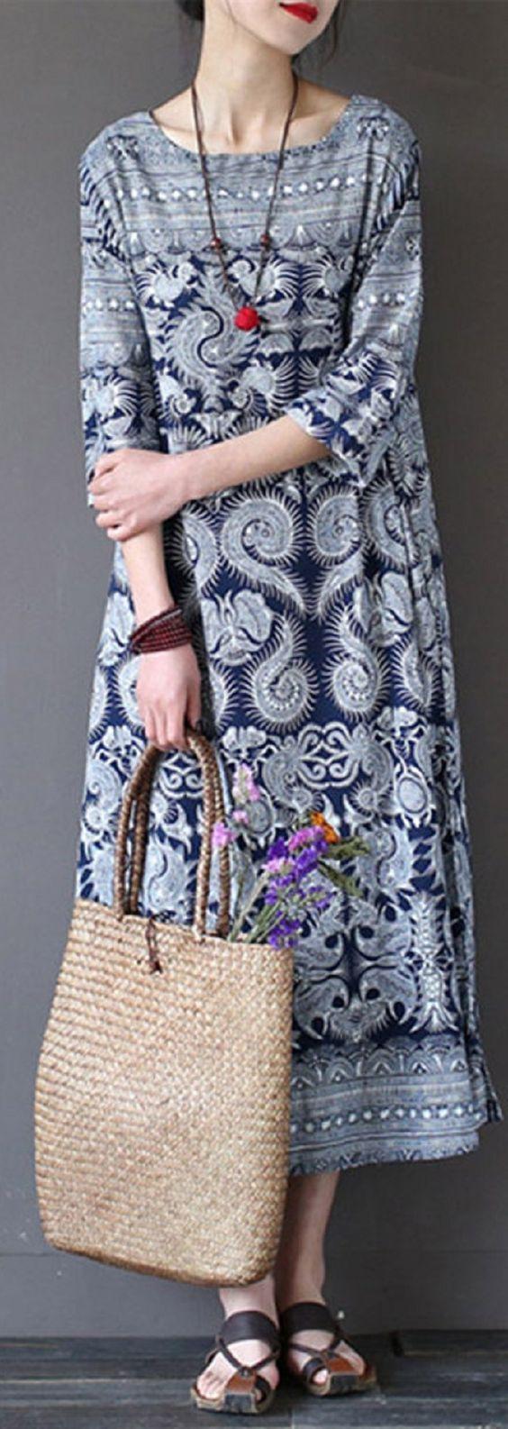 US$ 19.68 Vintage 3/4 Sleeve Ethnic Printed Long Maxi Women Dresses