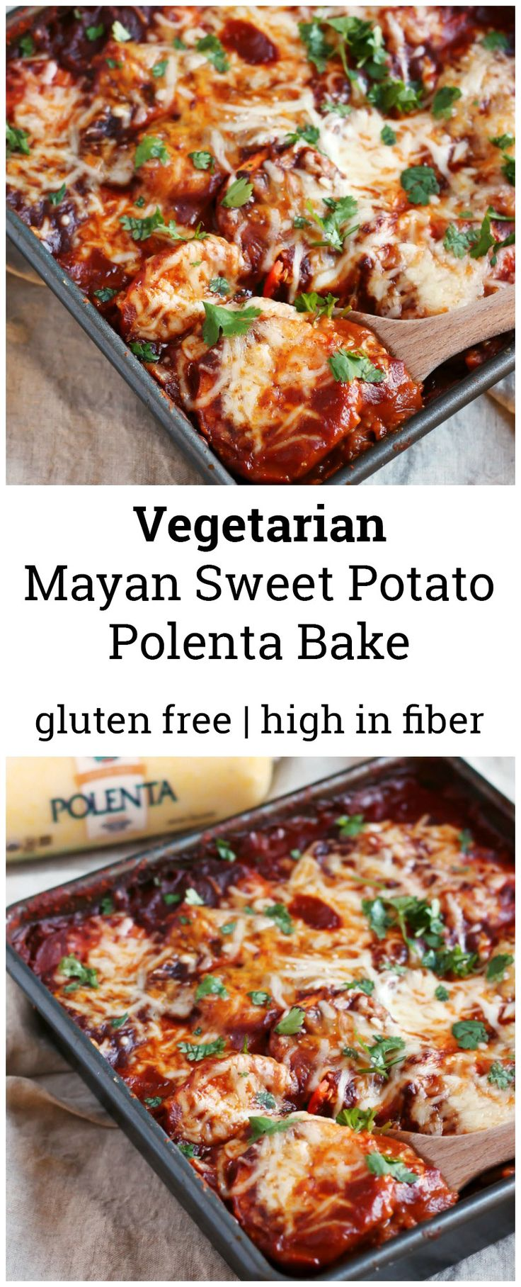 A recipe for my Mom's vegetarian Mayan polenta bake with layers of sweet potato, refried beans, polenta, red chile sauce and cheese. So delicious, filling and FULL OF FLAVOR!