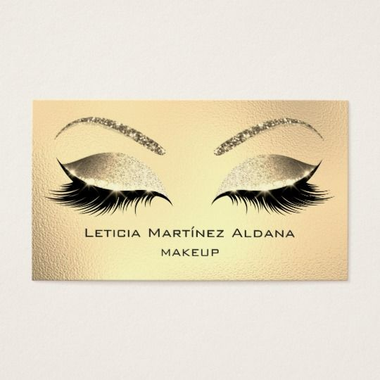 f6c58f17afc Makeup Eyebrows Lashes Glitter Diamond Gold Glam1 Business Card ...