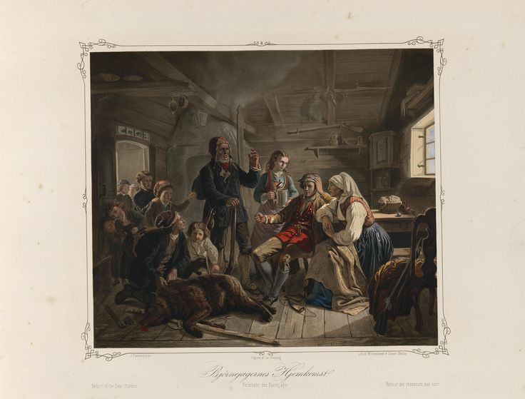 Norske Folkelivsbilleder 02 - Bjørnejægernes Hjemkomst (Adolph Tidemand). jpg (4432×3372)