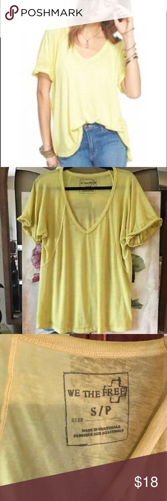 Yellow free people t shirt sz S free fallin New twist on an old FP fave, this tee features the same slouchy, oversized fit but it's in a so-soft burnout jersey. Ribbed V-Neck with rolled short sleeves. Subtle Hi-Lo hem. Free People Tops Tees - Short Sleeve