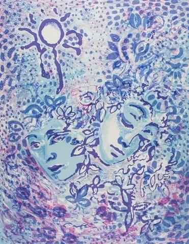 Cassandra Boyd 'Two Blue Faces' - screenprint on paper – Angela Tandori Fine Art