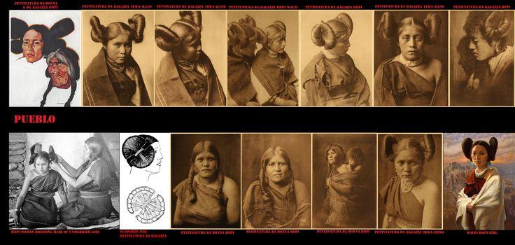 Un'acconciatura particolare, detta a fiore di zucca, distingueva le ragazze Hopi nubili da quelle sposate, Per eseguirla la madre della giovane avvolgeva i capelli intorno a un sostegno a farfalla. Come ogni aspetto della loro vita, anche questa pettinatura era intrisa di significati simbolici e rituali.Le donne sposate invece raccoglievano i capelli in 2 semplici codini.