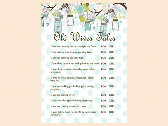 Old Wives Tales Baby Gender Game Rustic Mason by MagicalPrintable