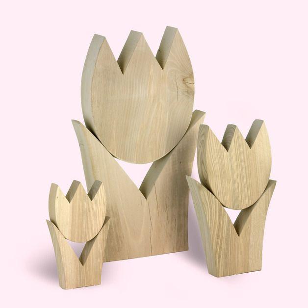 Deko-Objekte - Tulpe, Gr. 1, 26 cm hoch, Holzdekoration - ein Designerstück von Holzliebe-Iserlohn bei DaWanda