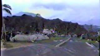 Hurricane Iniki, driving through Hanalei a few weeks after the hurricane., via YouTube.