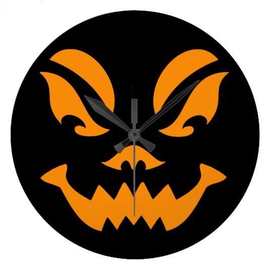 Orange and Black Carved Pumpkin Face Wallclocks