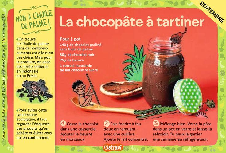La chocopâte à tartiner : une recette facile pour les enfants avec du chocolat praliné, du chocolat noir, du lait concentré et du beurre (extrait du magazine Astrapi, pour les enfants de 7 à 11 ans, n°856)