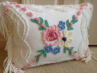 """One Pink Yellow Blue Cabin Craft Pillow Case from Chenille Bedspread 12"""" X 16"""""""