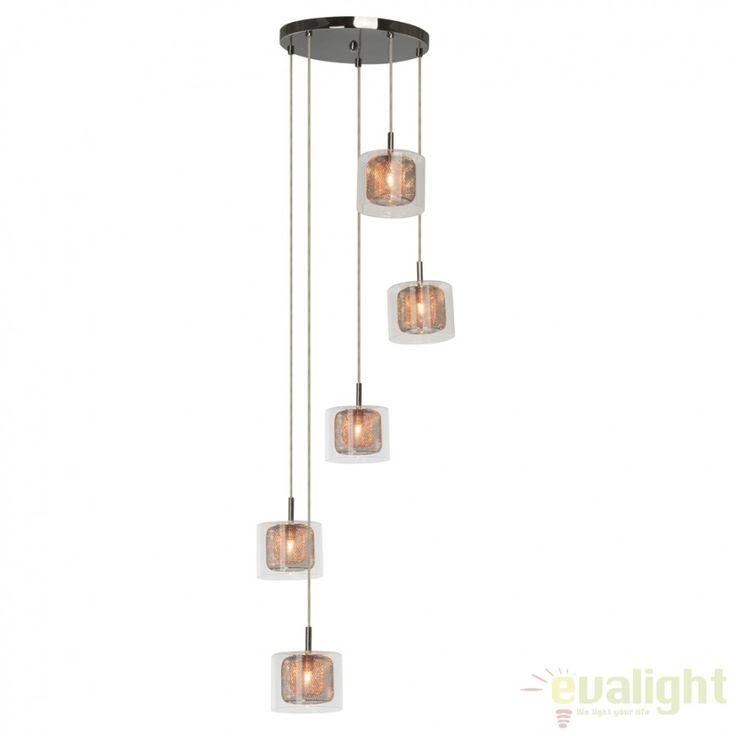 Lustra cu 5 pendule design modern Magic 18075/79 BL - Corpuri de iluminat, lustre, aplice