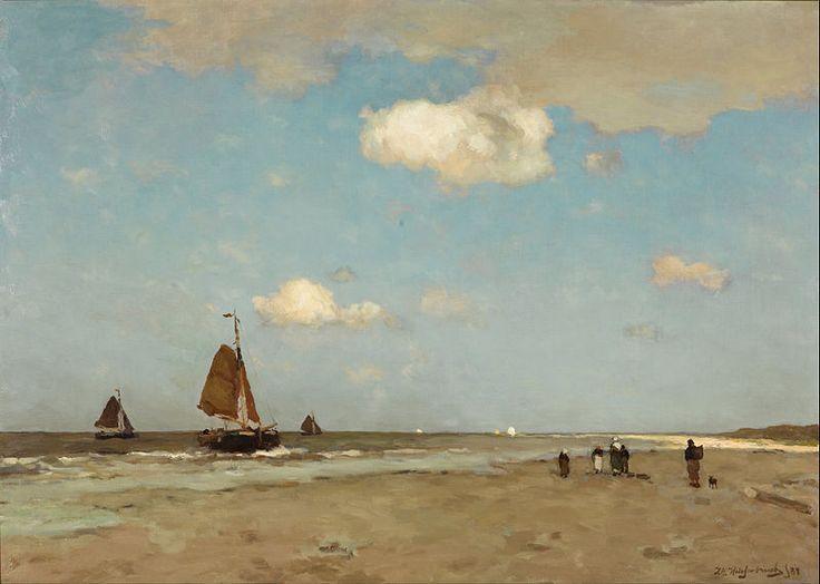 Jan Hendrik Weissenbruch - strand scene -  'We kunnen niet genoeg naar de lucht kijken', schreef de 19e eeuwse Haagse School-schilder Jan Hendrik Weissenbruch. 'We moeten het van boven hebben. Licht en lucht, dat zijn de grote tovenaars.'