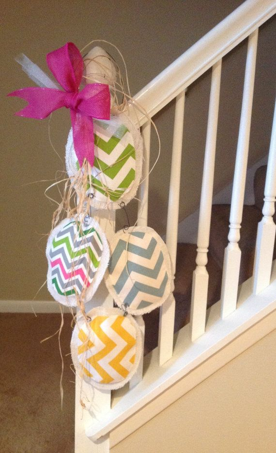 Large burlap 4 egg door decoration by Cranberrymoondesigns on Etsy, $18.00