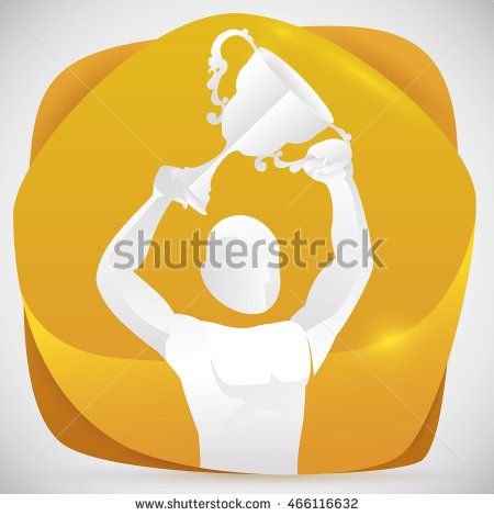 Proud athlete silhouette celebrating his new triumph rising up his trophy in a…