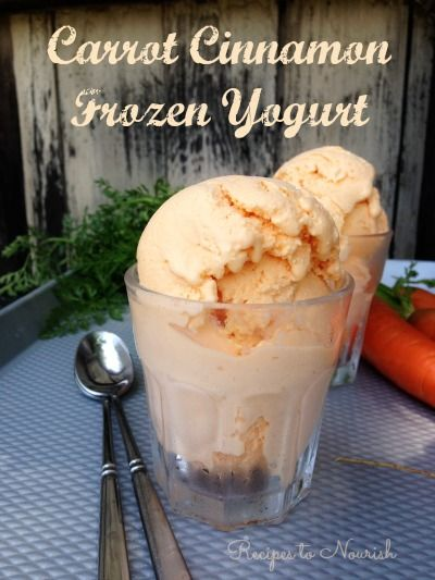 Carrot Cinnamon Frozen Yogurt ... refreshingly sweet + so simple. This #realfood frozen yogurt is absolutely delicious. Click here for the recipe. | Recipes to Nourish