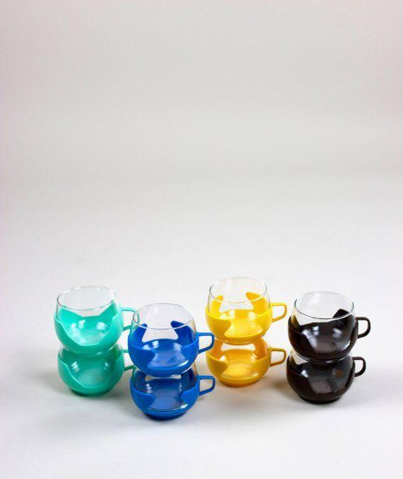 7abdf7c91de Vintage Teetassen, Teegläser, Tassen, Gläser, Punsch, Gelb, Blau, Braun