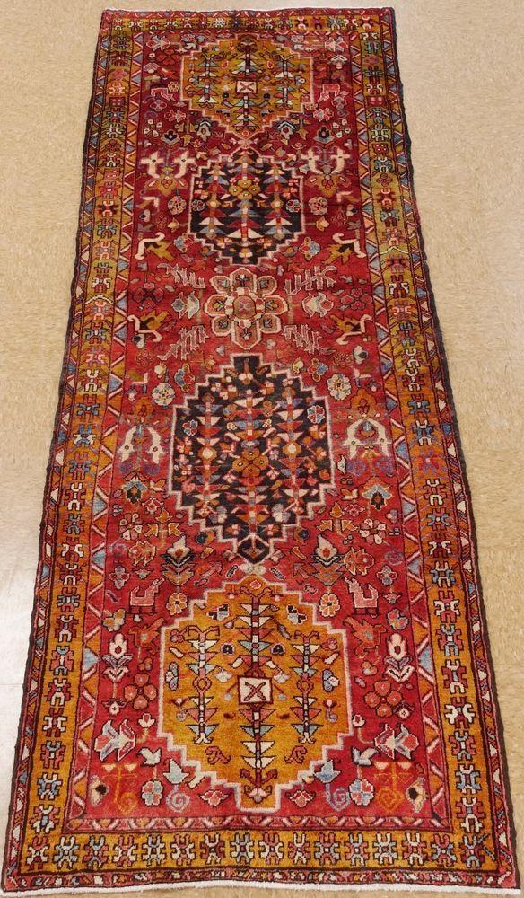4 X 10 Persian Heriz Tribal Hand Knotted Wool Rust Navy Gold Oriental Rug Runner Persianheriztribalgeometric