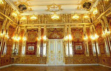 The Amber Room in the Catherine Palace  several tons of gemstones