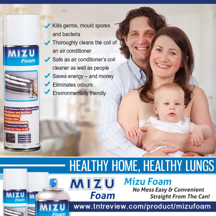 Healthy Home, Healthy Lungs - Time to clean your air conditioner with MIZU Foam: Air-conditioner Cleaner.   - Kills germs, mould spores and bacteria - Thoroughly cleans the coil of an air conditioner - Safe as air conditioner's coil cleaner as well as people - Saves energy – and money - Eliminates odours - Environmentally friendly   #MizuFoam #MizufoamAirconCleaner #MizuFoamshop #MizuFoamAustralia #Airconditioner #Aircon