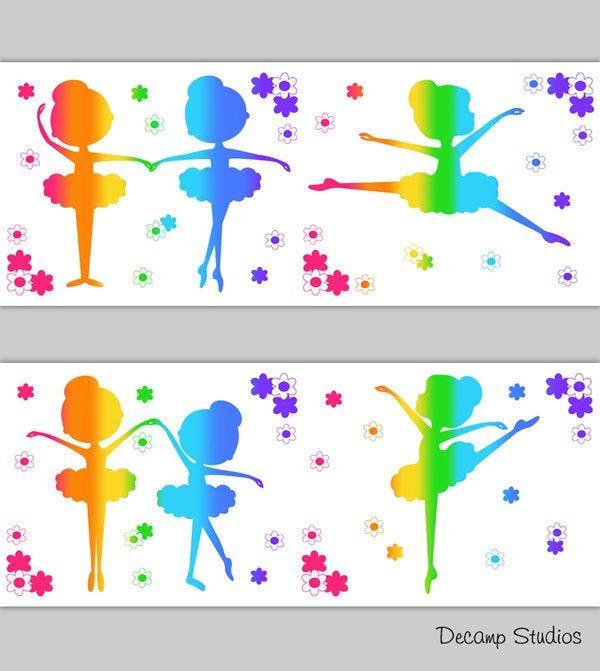Best Ballerina Girls Room Rainbow Wallpaper Border Wall Art 400 x 300