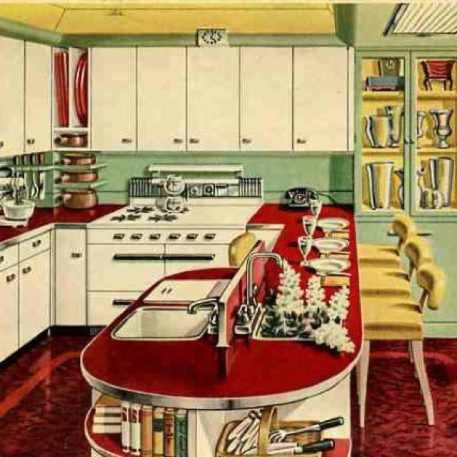 amazing green yellow kitchen | Mint green and red vintage kitchen. See the yellow accents ...