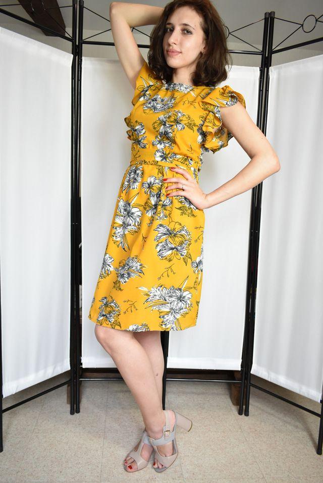 949beb1a60ae SHEIN Eyelet Crochet Lace Detail Frill Trim Dress 2018 Summer Round Neck  Butterfly Sleeve Dress Women Pink ...