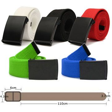 Men Women Plain Webbing Fashion Waist Belt Waistband Casual Canvas Belt 5 Colors at Banggood