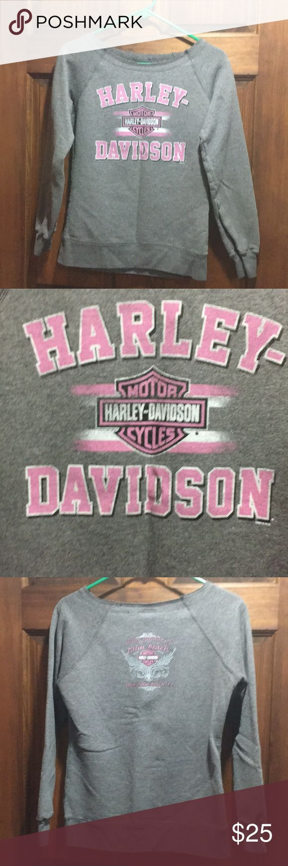 Harley Davidson Sweatshirt Women's Harley Davidson long sleeve sweatshirt.  Size small.  Gray with pink lettering.  From the Harley Davidson store in West Palm Beach; Florida. Like new condition!  Super cute! Harley-Davidson Sweaters Crew & Scoop Necks
