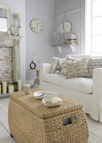 Living Room so soft and coastal //love the wall color and also the furnishings: