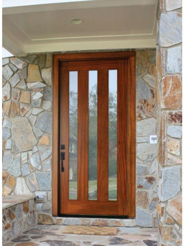 Mahogany Milan 3 Lite Single Door 2 1 4 Thick By Dsa Exterior Single Doors Wood Exterior Door Mahogany