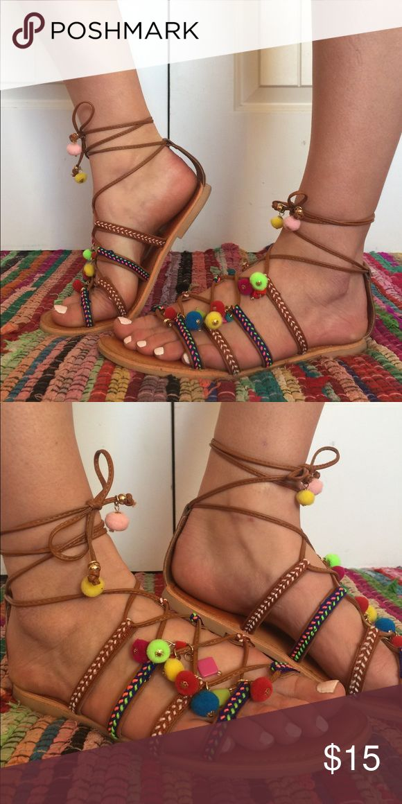 Bohemian Tribal Wrap Sandals Bohemian, Tribal, Wrap sandals with pompoms and beads. Fun and breezy sandals for the summer and spring time. #bohemian #tribal #summer #festival #boho #trendy #springbreak #sandals Big Buddha Shoes Sandals