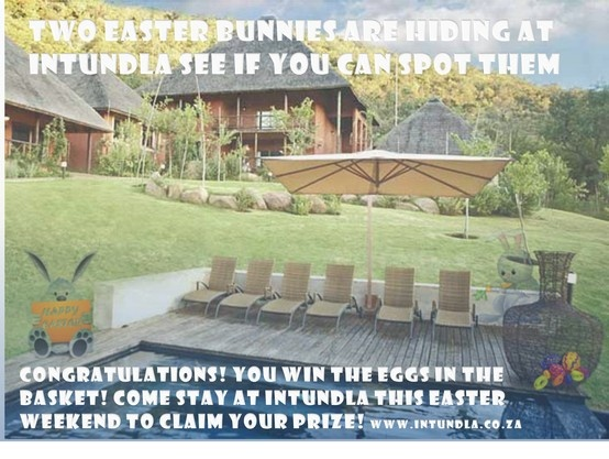 EASTER WEEKEND SPECIAL R550 pp Sharing per night Dinner, Bed & Breakfast (minimum of 2 nights) 28 March - 1 April 2013 Book now!