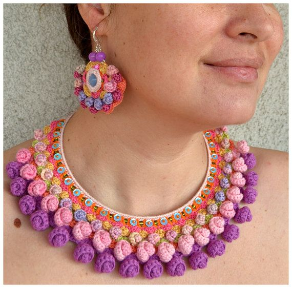 Statement textile necklace crochet using my own pattern.This colorful boho necklace is a piece of wearable art thats guaranteed not to go unnoticed!