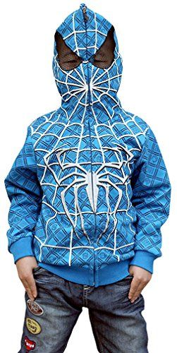 Boys Full Face Jacket Hoodie with Spider Print Blue 130 @ niftywarehouse.com #NiftyWarehouse #Spiderman #Marvel #ComicBooks #TheAvengers #Avengers #Comics