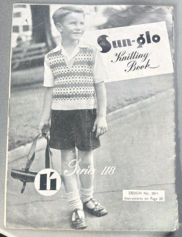Child's Sun-Glo # 118 vintage knitting book sweater cardigan dress | eBay
