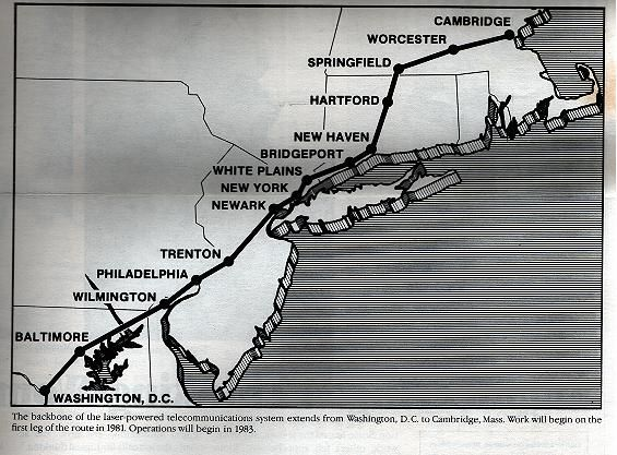 AT&T Long Lines: Cambridge-Washington FT3/FT3C Lightguide (fiber-optic) Route Map - PRIMEIRA LINHA DE FIBRA OTICA