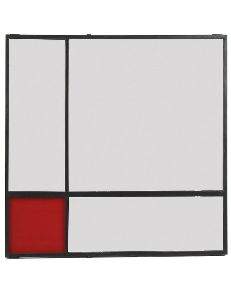 COLLAGE - GRAPHIC METAL WALL ART MIRROR WITH RED GLASS H:80CM £175.00