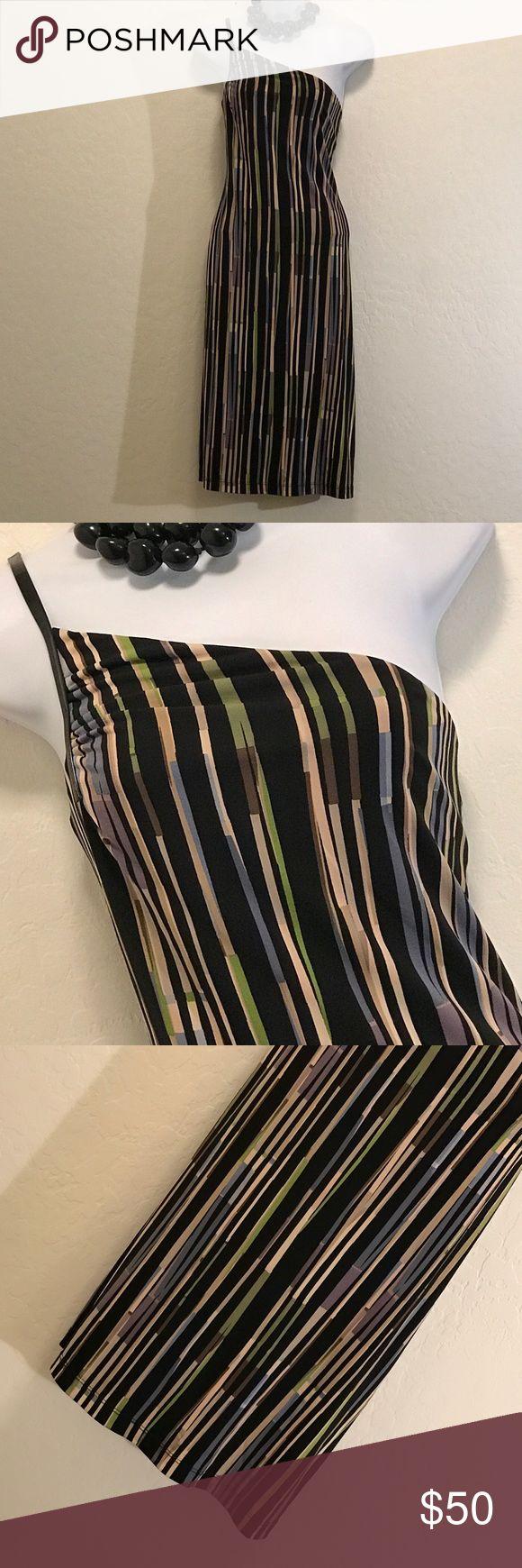 👗NWOT BCBGMaxAzria One Strap Dress Never Worn, Great Color & Cool Print, Stretch. BCBGMaxAzria Dresses One Shoulder
