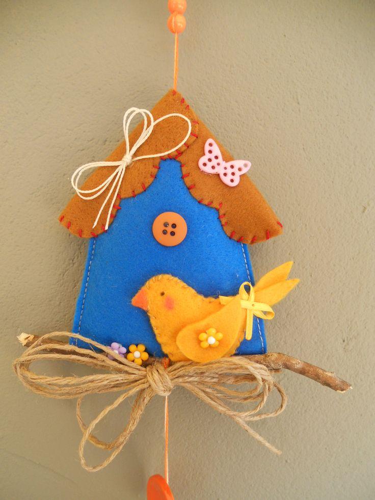 felt bird and house