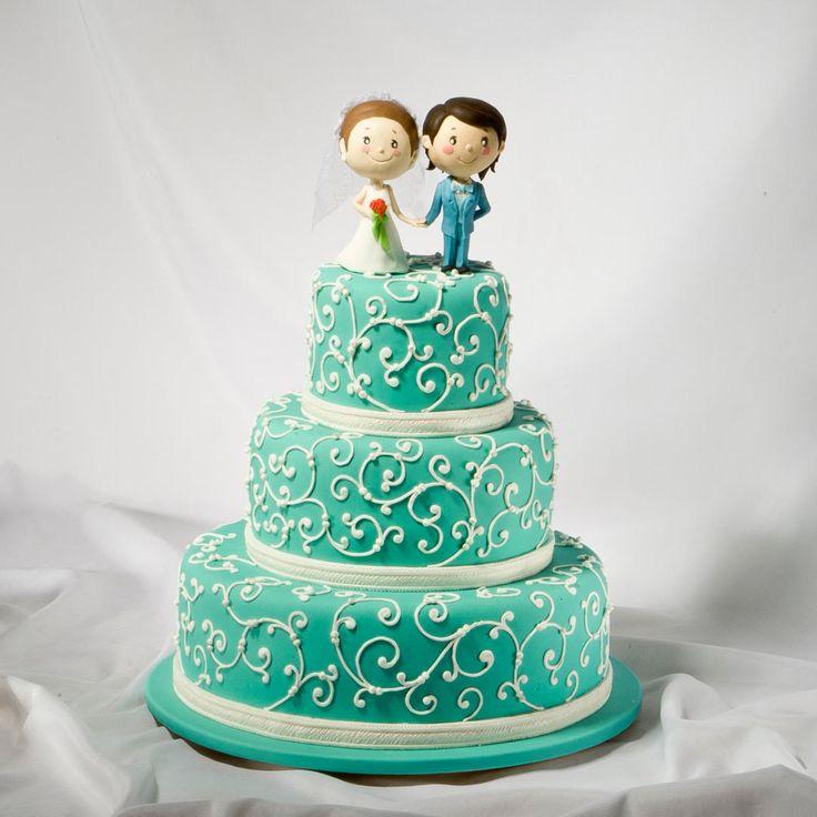 Свадебный торт в стиле Tiffany с свадебными фигурками Love is