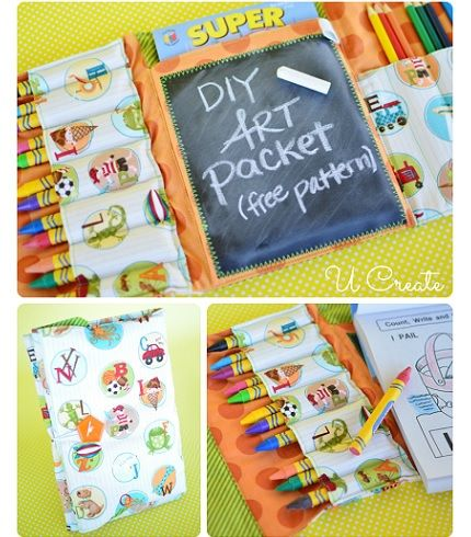Change out chalkboard fabric to clear vinyl, Free pattern: DIY Art Packet tri-fold coloring folio