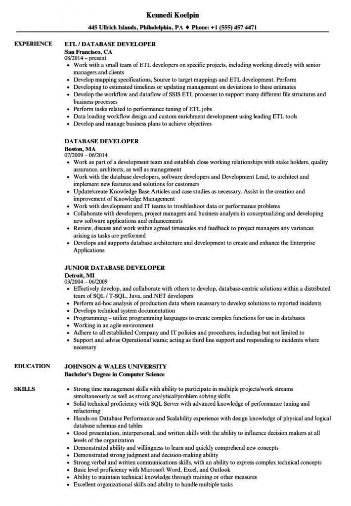 Database Developer Resume 2021 Resume Examples Manager Resume Graphic Design Resume