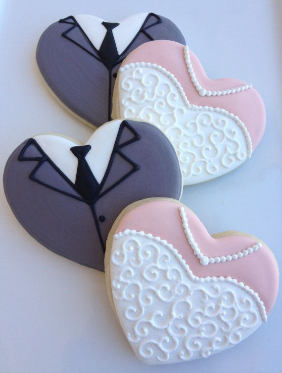Boda novia de galletas y galletas de corazón de novio  1